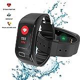 Fitness tracker mit Pulsmesser, Fitness Armbänder, Fitness Aktivitätstracker Schrittzähler, Schlaf-Monitor,/ Kalorienzähler, Anrufen / SMS, finden Telefon für Android iOS Smartphone
