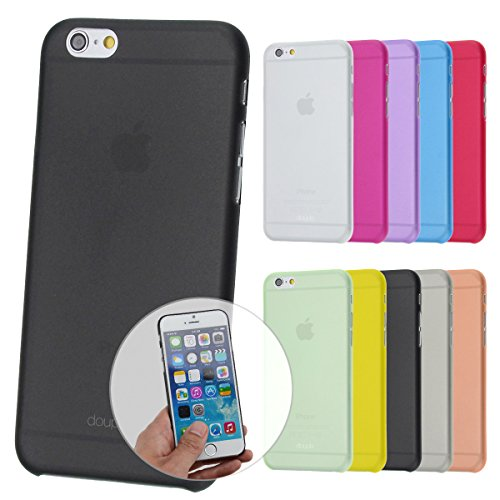"doupi UltraSlim Case iPhone 6 / 6S ( 4,7"" ) Carbon Fiber Look Kohlefaser Optik FederLeicht Hülle Bumper Cover Schutz Tasche Schale Hardcase, schwarz Grau"