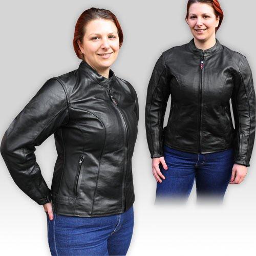 Zena - per moto-giacca in pelle da donna - CE-imbottiture - Nero