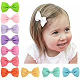 ONLINE MONK Baby Girl's Solid Candy Colours Grosgrain Ribbon, 2.75-inch Long (Multicolour) - Pack of 10 Pieces