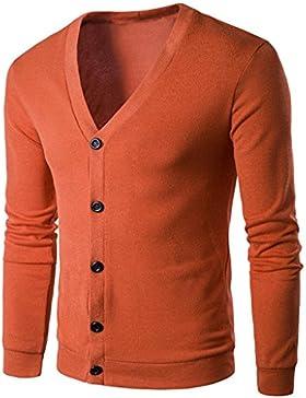 Mamum knirwear hombres, botón de otoño invierno ropa de trabajo ropa de negocios con cuello en V jersey de punto...