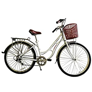 51Qu4XeodGL. SS300  - ECOSMO 700C Alloy Ladies Women Shop City Road Bicycle Bike 7 SP -28AC02W+basket