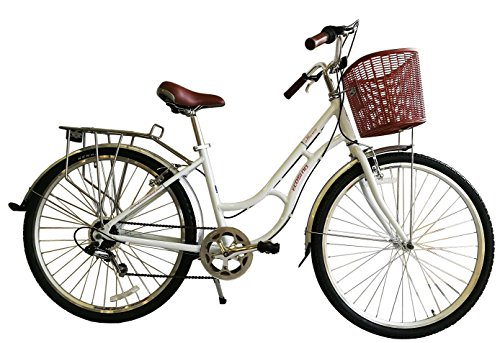 51Qu4XeodGL - ECOSMO 700C Alloy Ladies Women Shop City Road Bicycle Bike 7 SP -28AC02W+basket