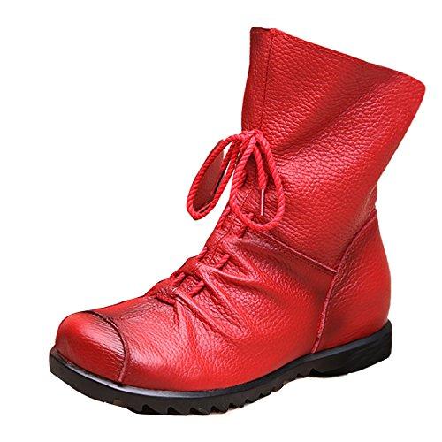 Gaorui Retro-Design Damen Boots Stiefel Stiefeletten aus weiche Leder mit Vorne Reißverschluss Schnürstiefeletten Rot und (Schwarze Und Rote Stiefel)