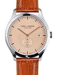 Lars Larsen Ayo Reloj unisex de cuarzo beige con esfera analógica pantalla y correa de piel color marrón 129scll
