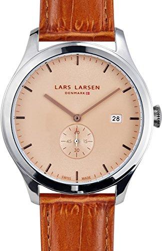 Lars Larsen Ayo Beige-Orologio Unisex al quarzo con Display analogico e cinturino in pelle marrone 129SCLL