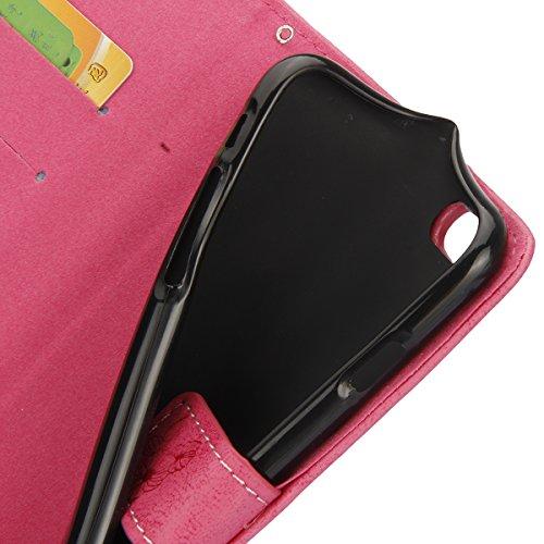 Etsue Lanyard/Strap für iPhone 6 Plus/6S Plus [Blumen Baum Blatt] Leder Schutzhülle Ledertasche Case Muster, Bunte Retro Floral Leaf Painted Magnetverschluss Premium Leder Hülle Wallet Cover Flip Case Graffiti Blume,Hot Pink