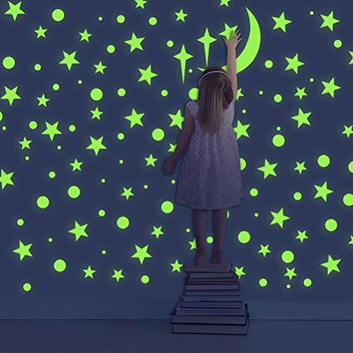 WOWOSS Leuchtsticker Wandtattoo, Leuchtsterne Punkten und Mond Wandsticker Wandaufkleber DIY für Schlafzimmer Jungen Mädchen Kinderzimmer - Energy-star-wand-beleuchtung