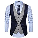 #5: Creative Mens Slim Fit Casual Waist Coat 38 Blue Black