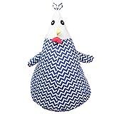 IHClink Stofftier Aufbewahrung Sitzsack–2in 1. Stofftier Aufbewahrung + Kids Bean bagt- Cartoon Chicken, Zig Zag Sitzsack Plüsch Spielzeug Organizer blau