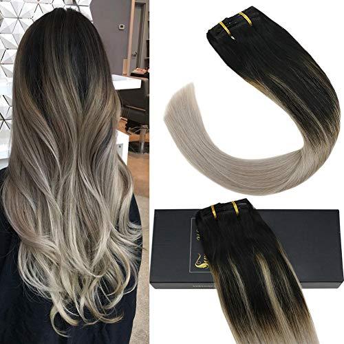 Sunny extension clip capelli umano 120g/7pcs balayage nero naturale con grigio testa piena extension capelli veri con clip 45cm