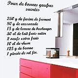 Stickers Muraux Cuisine Gaufres La Recette. Vinyle Amovible Autocollants Muraux