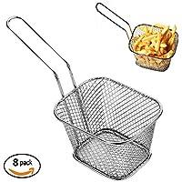 Mini cestas de chip para cocina de acero inoxidable para servir alimentos 8pcs