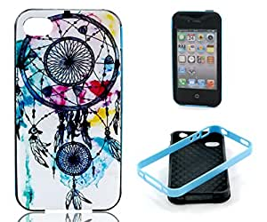 4s case,iphone 4s case, iphone 4 case, ARTMINE Vintage Dream Catcher Shockproof Silicone Hybrid Rugged Tough 2-Piece Dual Layers TPU Hard Back Bumper Durable Heavy Duty Rubberized Combo Phone Protective Case Cover [HD Screen