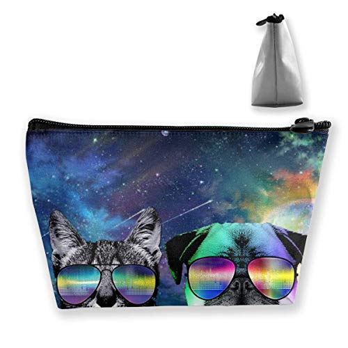 Travel Makeup Bag Dj Cat with Earphone Pet Animal Dj Pug Dog Makeup Pouch Toiletry Storage Clutch Organizer with Zipper for Women & Men