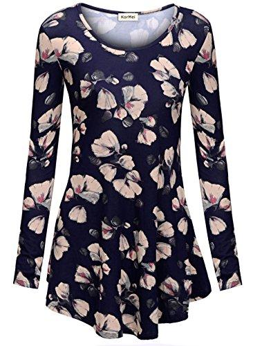 KorMei Damen Swing A-Linie Asymmetrisch Tie-Dye Stretch Langarmshirt Hemd Tunika Blau Blume M