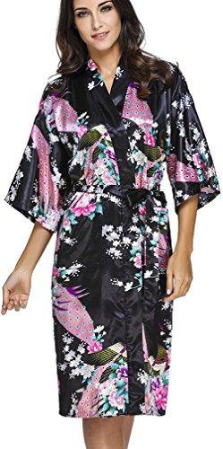 s für Damen Bademantel aus Satin mit Pfau und Blüten Morgenmantel Robe Schwarz 6XL ()