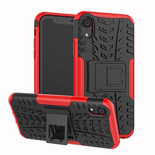 Abuenora iPhone XS/iPhone X Hülle + Displayschutzfolie Panzerglasfolie HandyHülle SchutzHülle Stoßfest Stoßdämpfende Shockproof Rüstung Case mit Unterstützung Farbe Rot