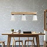 LED Pendelleuchte Esstisch Holz Hängeleuchte 3 Flammig Warmweiß Höhenverstellbar Esstischlampe für Esszimmer Wohnzimmer Büro Cafe Restaurant, Weiß
