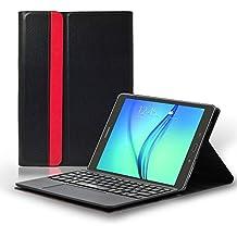 LEICKE Sharon | Funda con teclado inalámbrico para Samsung Galaxy S2 9.7' con funciones Multitouch y Touchpad integradas | Teclado Bluetooth desmontable QWERTY inglés (Posibilidad de configurar el teclado en español)