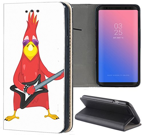 Samsung Galaxy A3 2016 Hülle Smart Flipcover Schutzhülle Case Handyhülle für Samsung Galaxy A3 2016 (1009 Vogel Bird Rot mit Gitarre Cool Rock Angry)