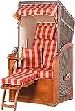 Strandkorb List Mahagoni Einsitzer PE grau Dessin Karo Rot