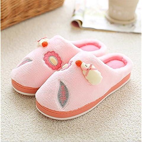 TDXIE Gli amanti del fumetto di cotone spesso mese scivolare scarpe caldo cotone pantofole casa , leaves of sheep (pink) , 37-38