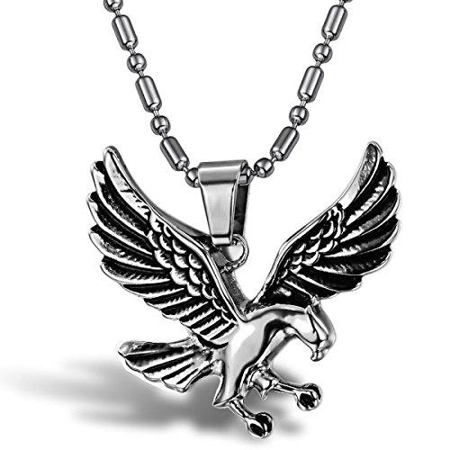 WKAIJCJ Halsketten Männer Anhänger Paare Adler Des Himmels Titanium Steel Mode Individualität Einfachheit,OneColor-OneSize (Eine Einfachheit Kragen)