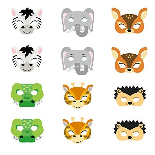 ED-Lumos Máscaras para niños Forma Animal Material Papel para Las Fiestas Infantiles 12 Piezas Cocodrillo Cebra Jirafa Elefante Erizo Ciervo