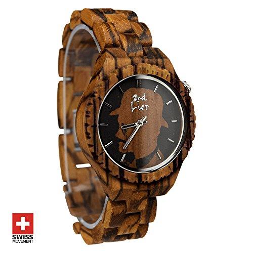 -Holzuhr--handgemachte-Armbanduhr-aus-Holz-35mm-Zebranoholz-Damen-Herren-kostenloser-Versand-50-Tage-Geld-Zurck-12-Monate-Garantie