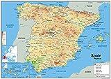 Mapa España Físico-Vinilo-A1tamaño 59,4x 84,1cm