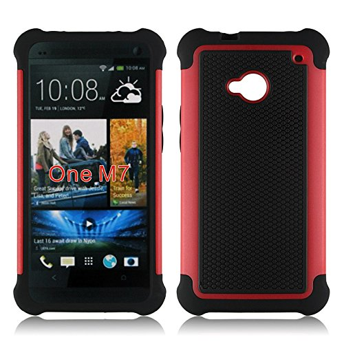Bracevor Triple Layer Defender Back case for HTC One M7 Dual sim (Red)  available at amazon for Rs.499
