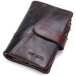 Contacts Portefeuille en cuir véritable pour homme avec compartiments pour carteset poche pour les pièces
