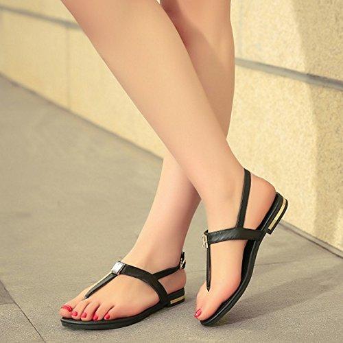 TAOFFEN Damen Fashion Elegant Flach Flip-Flop Sling Beach Sandalen Buckle Strap 600 Schwarz