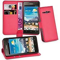 Huawei Y530 Hülle in ROT von Cadorabo - Handyhülle mit Kartenfach und Standfunktion für Huawei Y530 Case Cover Schutzhülle Etui Tasche Book Klapp Style in KARMIN ROT
