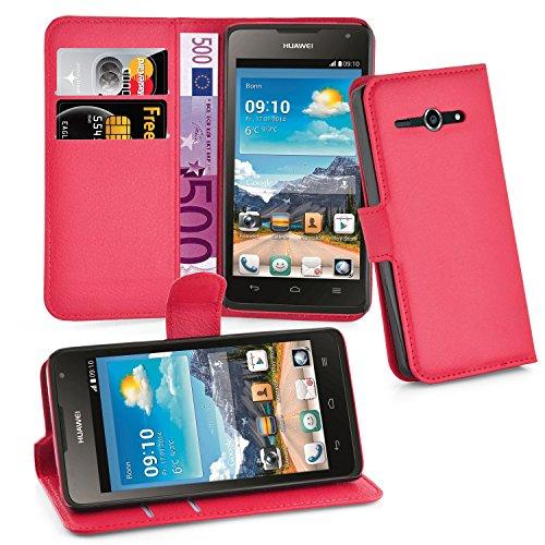 Cadorabo Hülle für Huawei Ascend Y530 Hülle in Karmin Rot Handyhülle mit Kartenfach & Standfunktion Case Cover Schutzhülle Etui Tasche Book Klapp Style Karmin-Rot