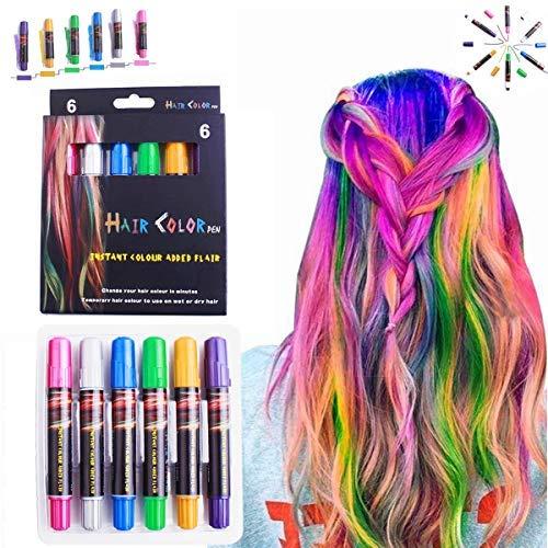 Haarkreide, LAWOHO 6 Farben-vorübergehende HaarKreide-Salon, ungiftige waschbare Haar-Farbstoff-Farben für Halloween-Weihnachtsgeburtstags-Partei, Cosplay, Konzert, Geschenke für Mädchen Kinder (Waschbar Haar Farbstoff)