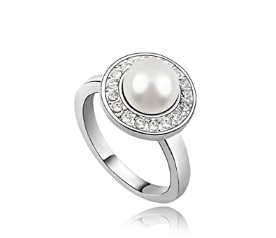ufengke Austrian Crystal Round Pearl Engagement Ring White Gold