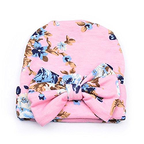 ankenhaus Mütze Baumwolle Mütze Mütze Newborn Baby Mädchen Kleinkind (Pink Bowknot) ()