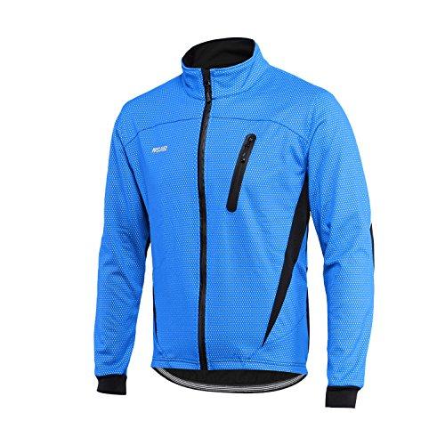 ARSUXEO Winter-Aufwärmjacke, Thermo-Fleece-Jacke, Fahrradjacke, winddicht, wasserdicht, atmungsaktiv, 16 H, Herren, blau, X-Large