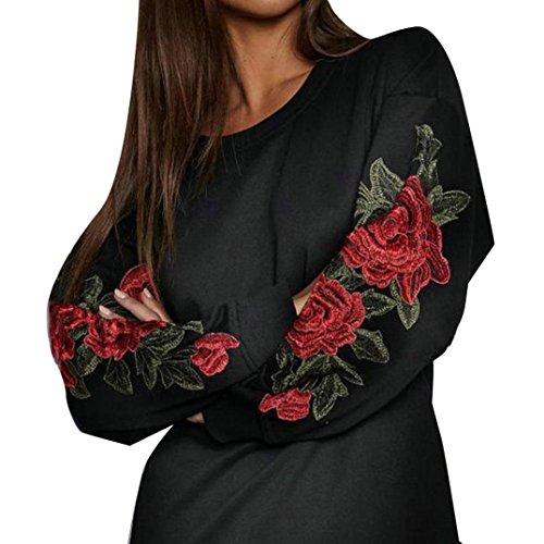 Kolylong® Sweatshirt damen Frauen elegante rose gedruckt lange Ärmel bluse Casual lose T-Shirt Tops Herbst Pullover Sweatshirt (L, Schwarz) (Zurück Zip Pullover)