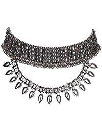 Libing Collar de cadena de clavícula corto cristalino de mujer