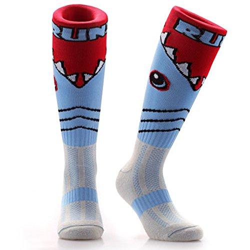 Samson Strumpfwaren® Shark Attack Print Funky Neuheit Fashion Geschenk Socken Fußball Rugby Sport und Casual Knie Hohe Socken für Männer Frauen Kinder unisex, Mehrfarbig - Blau und Rot, M (Neuheit Knie Hoch Socken)