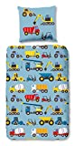 Aminata Kids - Kinder-Bettwäsche-Set 135-x-200 cm Auto-s-Motiv BAU-Fahrzeuge Feuerwehr 100-% Baumwolle Renforce Weiss rot hell-blau-e gelb Baustelle Bagger Betonmischer