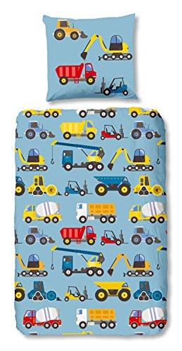 Aminata Kids - Kinder-Bettwäsche-Set 135-x-200 cm Bagger-Motiv BAU-Fahrzeuge Auto-s Betonmischer 100-% Baumwolle Renforce hell-blau-e bunt-e