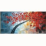 TTKX@@ Handgefertigte Acryl Floral Gemälde auf Leinwand Handgemaltes Messer Rote Blume Ölgemälde Große Moderne Wohnkultur Wandkunst Bilder,60X120Cm