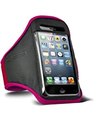 Fone-Case HTC One M7 verstellbaren Sport Fitness Jogging Arm Band Hülle (Hot Pink)
