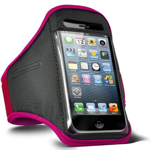 Fone-Case LG Optimus L3 E400 verstellbaren Sport Fitness Jogging Arm Band Case (Heiß Pink)