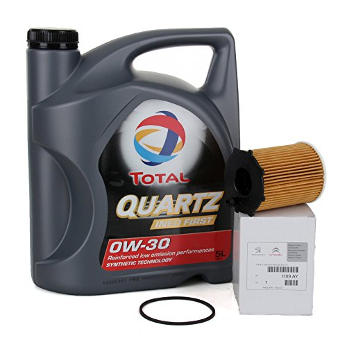 Set - Olio Motore Total Quartz INEO First 0 W-30, 5 litri + filtro olio PSA originale 1109AY Motori 1,4 / 1,6 HDi, confezione originale