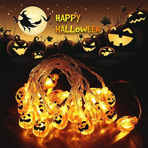 Yompz 3M 20 LED String di Luci Halloween, Luce di Zucca di Halloween, Luci Stringa all'aperto di Halloween, Luci Decorative Zucca LED per Halloween, Natale, Patio, Casa (Bianco Caldo)